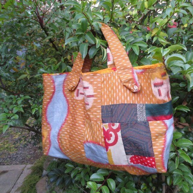秋景色の銘仙で・・・大島や明るい銘仙パッチしてかご型バッグ♪の画像1枚目