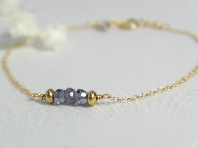 【K14gf】宝石質アイオライトのプチブレスレットの画像1枚目