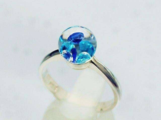 Bijou Glass Ring S Blueの画像1枚目