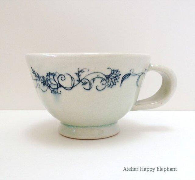 植物模様のマグカップ 水色x青緑の画像1枚目
