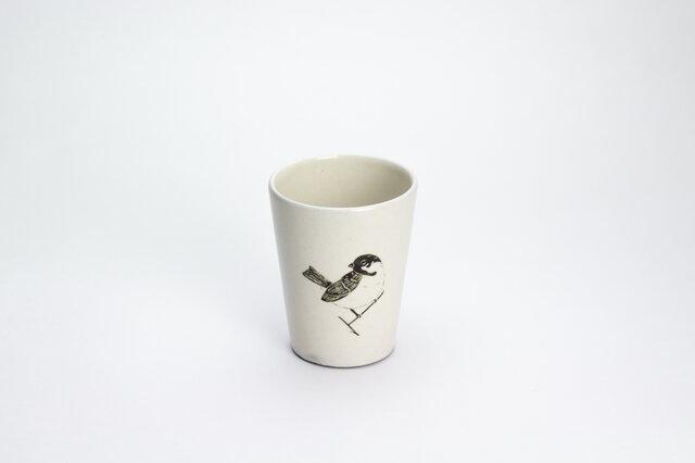 粉引フリーカップ(佇むスズメ)の画像1枚目