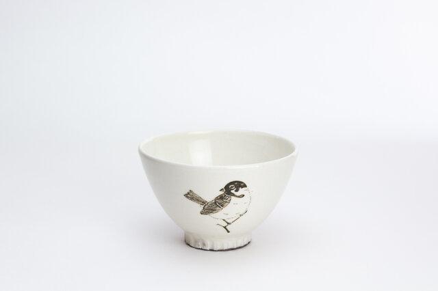粉引茶碗(佇むスズメ)の画像1枚目