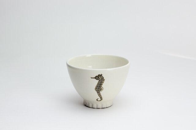 粉引茶碗 -(小)- (タツノオトシゴ)の画像1枚目