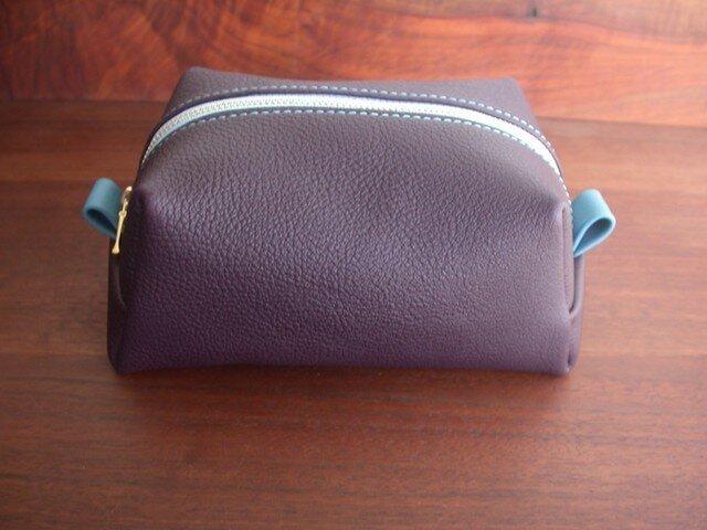 M.シュリンクレザー×リバティのポーチ...紫×水色の画像1枚目
