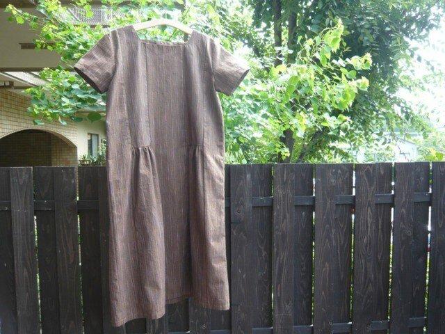 遠州綿紬のワンピース(ゆったりサイズ)の画像1枚目