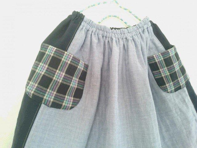 リネンとコットンの女の子スカートの画像1枚目