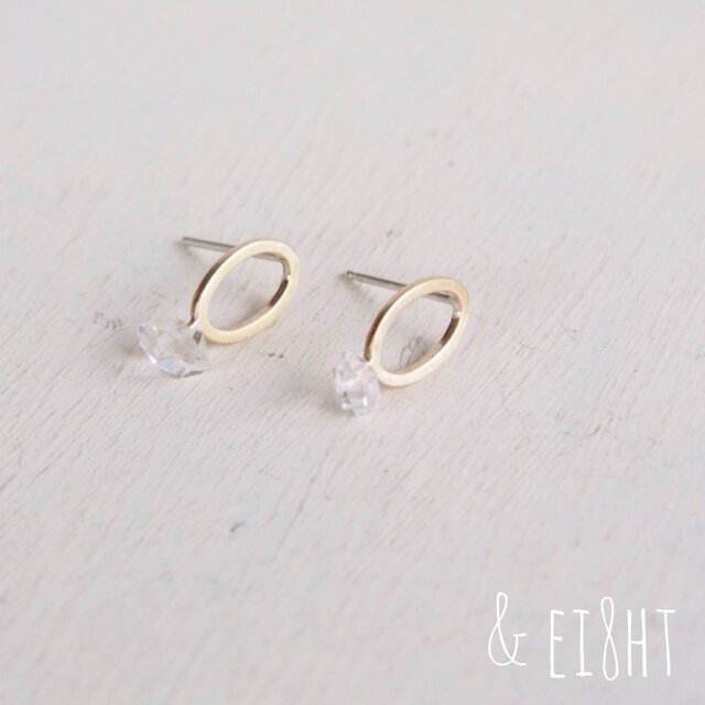 -BR- Oval ピアス w/ Herkimerの画像1枚目