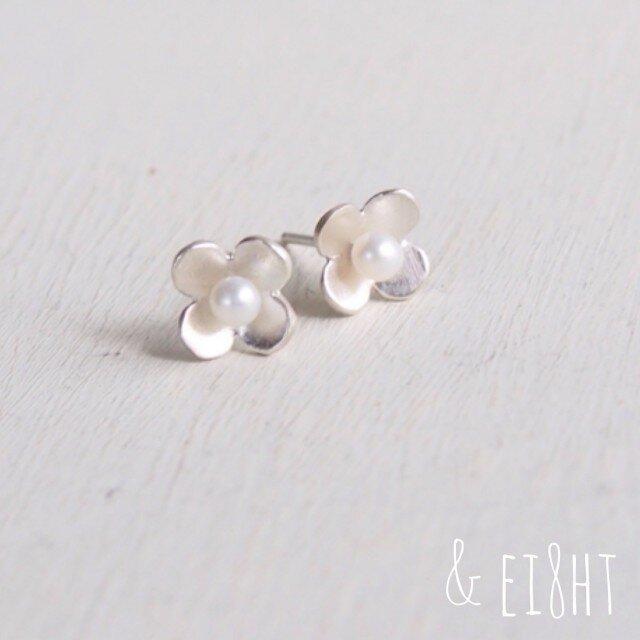 【再販】-SV- Flower ピアス w/ Pearlの画像1枚目