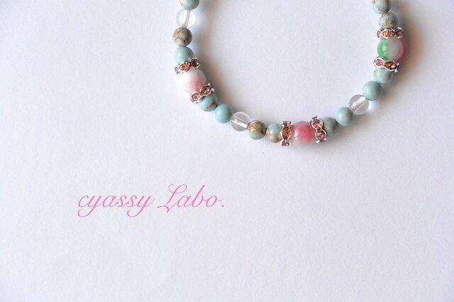 lago rosado~トルコ石と花翡翠のブレスレット~の画像1枚目