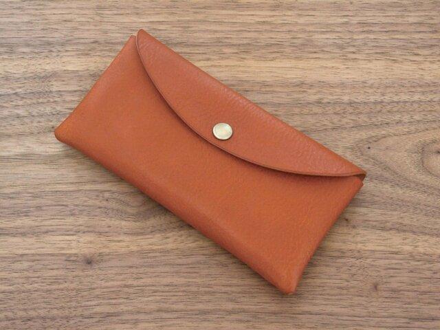 イタリア製牛革のコンパクトな長財布 / ライトブラウン※受注製作の画像1枚目