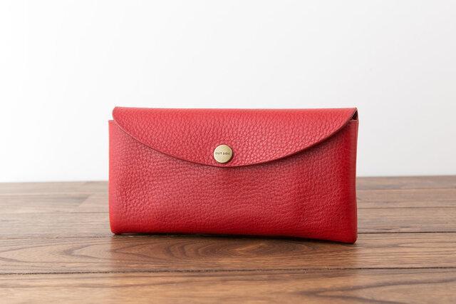 イタリア製牛革のコンパクトな長財布 / レッドの画像1枚目