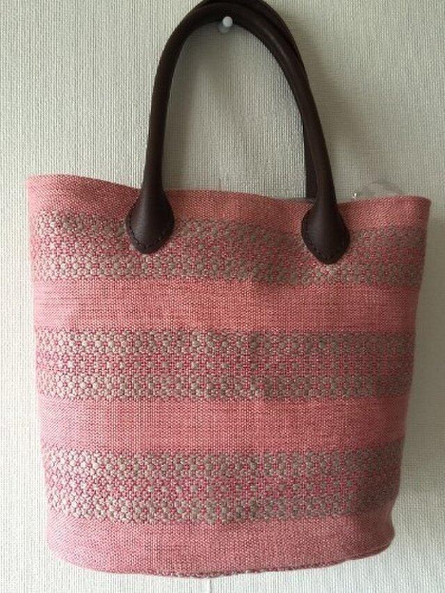 手織 麻布の手提げバッグ ピンクの画像1枚目
