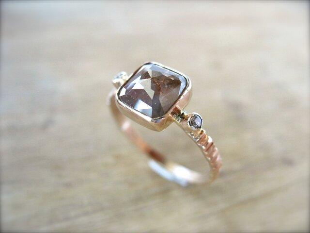Brown Marble Diamond Ringの画像1枚目