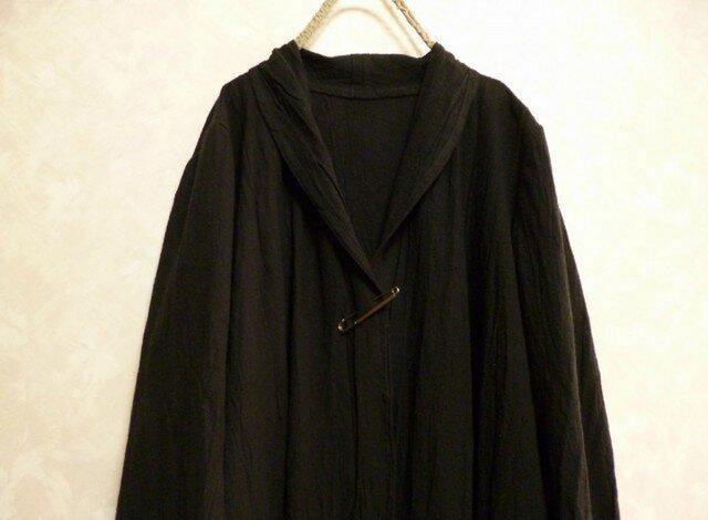 ご注文受付 サイズ指定製作 コットンリネン シワ加工 ロングカーディガン コート 黒 綿麻 ショールカラーの画像1枚目