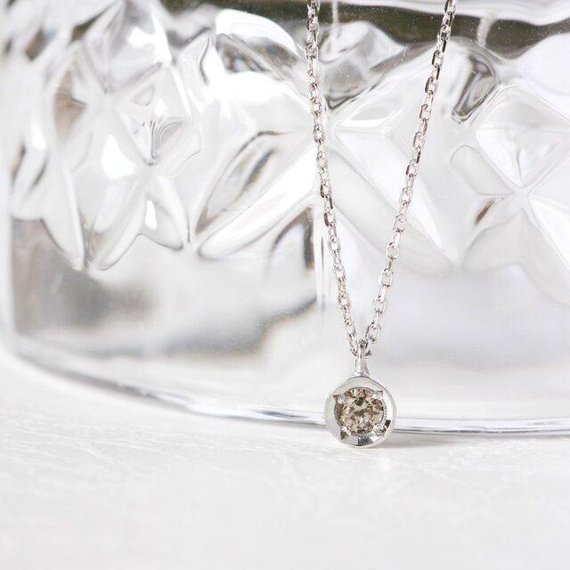 一粒 シャンパン ダイヤモンド ペンダント シルバー925の画像1枚目