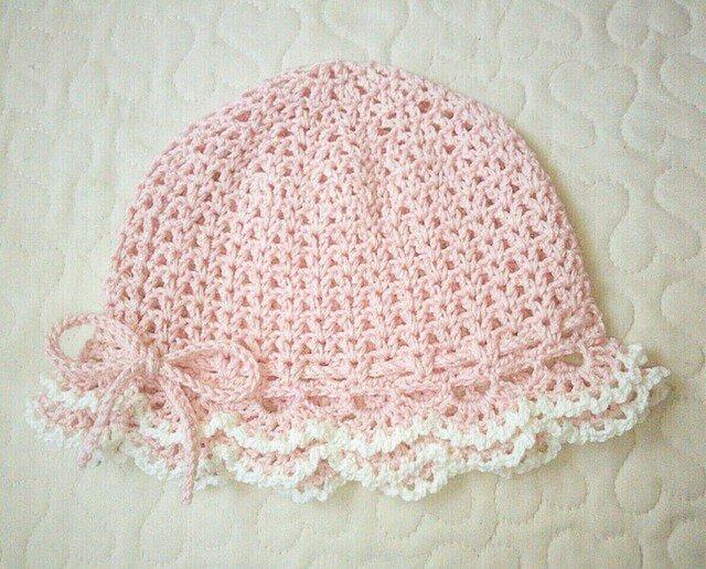 フリルのお帽子   ~ 43cm    ベビーピンクの画像1枚目