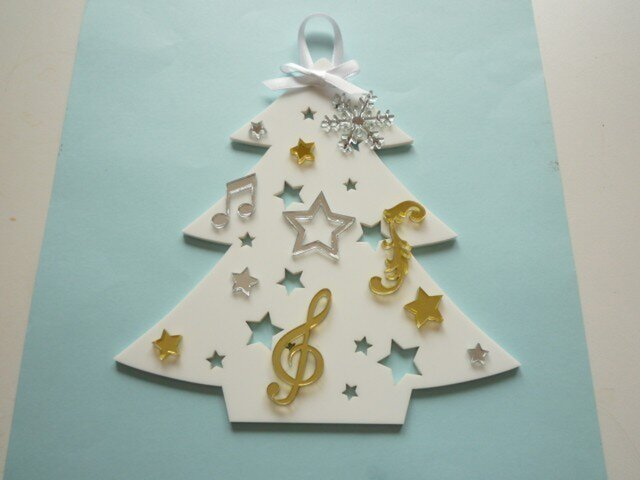 アクリルのクリスマスツリー(壁掛)№5の画像1枚目