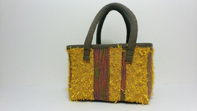 裂き織りかごバッグの画像1枚目