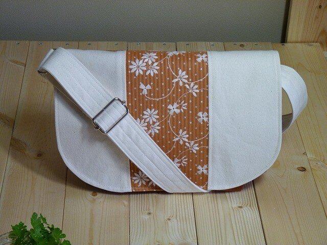 ミニメッセンジャーバック 刺繍 オレンジの画像1枚目
