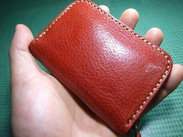 カードも入るファスナーコインケース 赤にベージュステッチの画像1枚目