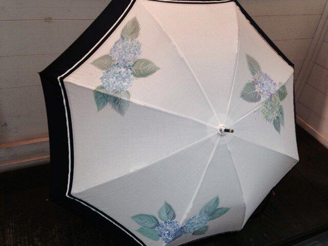 手描き日傘(晴雨兼用)  紫陽花(白)の画像1枚目