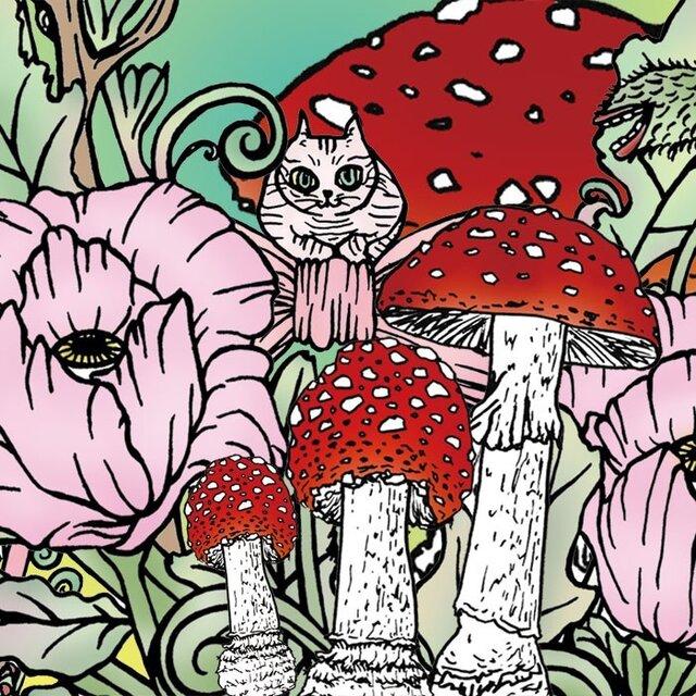 花ときのこと猫 ポストカード2枚セットの画像1枚目