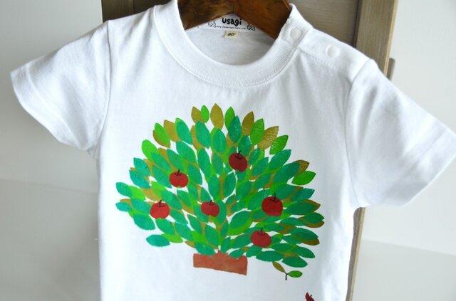 送料.名入れ無料 子供用Tシャツ~りんごの木~ホワイトの画像1枚目