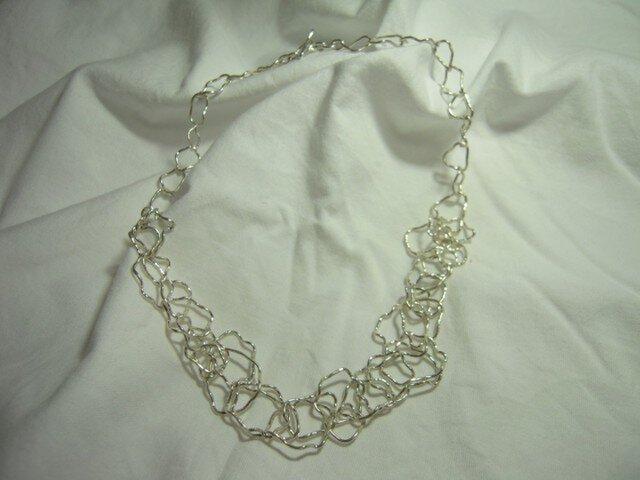 手作りの鎖 銀のネックレス CH-3の画像1枚目