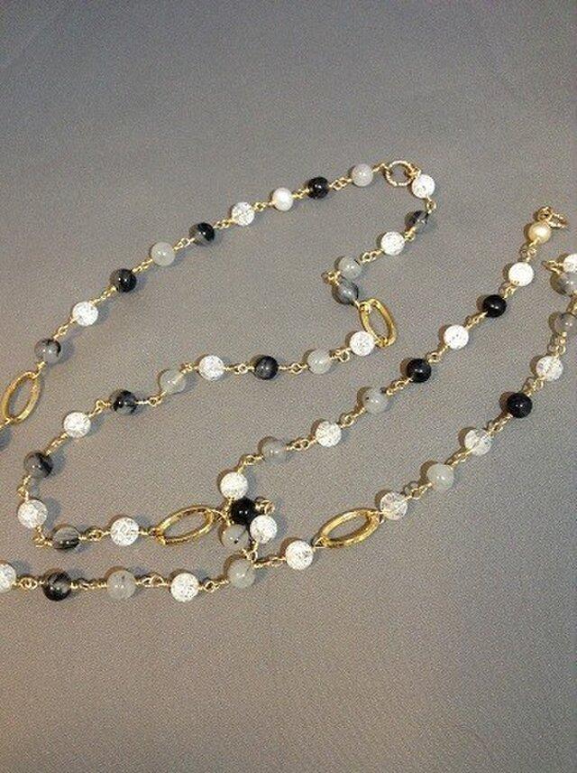 トルマリンクォーツと水晶の2連ネックレスの画像1枚目