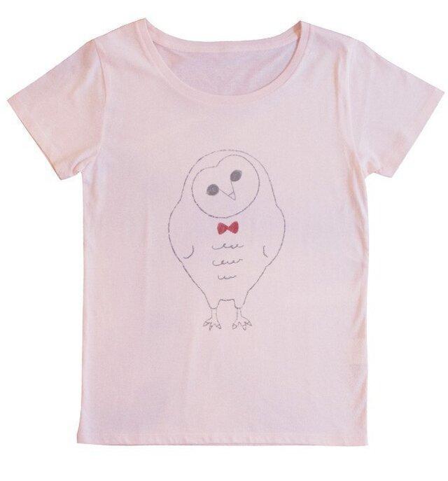 メンフクロウのTシャツ(シャーベットピンク)の画像1枚目