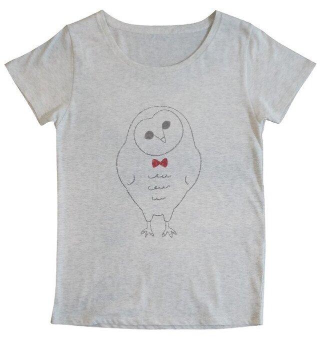 メンフクロウのTシャツ(オートミール)の画像1枚目
