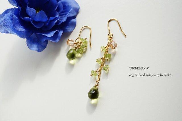レディーグリーンピアス Lady green earrings P0045の画像1枚目
