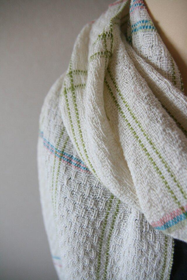 麻と絹の手織りショール(シルク/ターコイズブルー)の画像1枚目