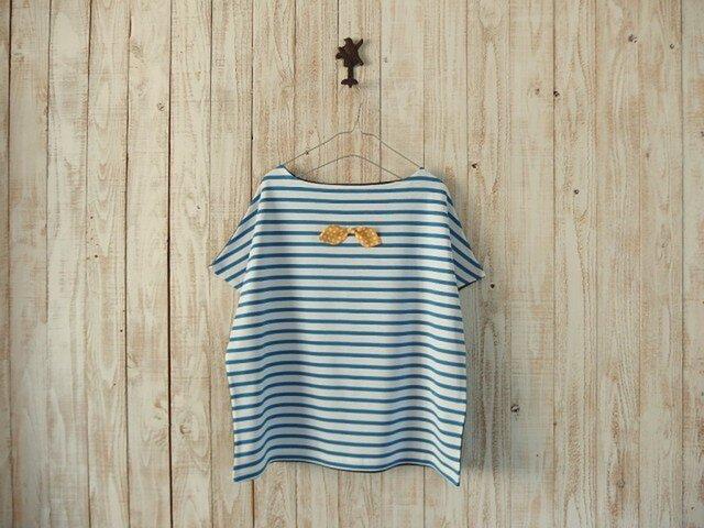 どっちもTシャツ(リボン)/青白ボーダー×チャコールグレーの画像1枚目