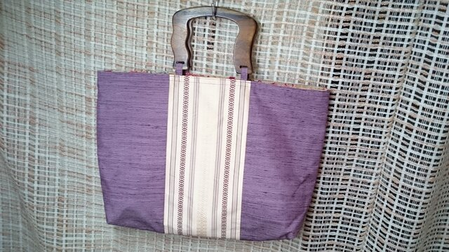 ♪帯地を使ったトートバッグ5薄紫の画像1枚目