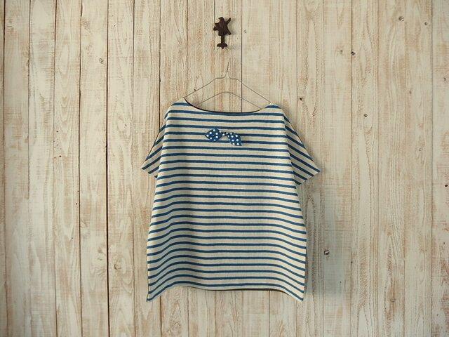 どっちもTシャツ(リボン)青生成ボーダー×チャコールグレの画像1枚目