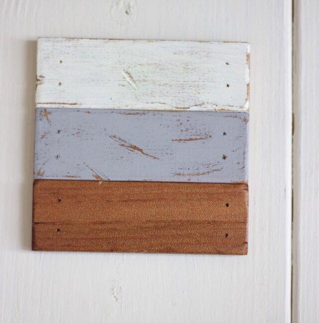 木製コースター No.018(ホワイト グレー ナチュラル)の画像1枚目