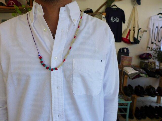 三つ編みワックスコード3*ホワイトハーツ2 ロングネックレスの画像1枚目