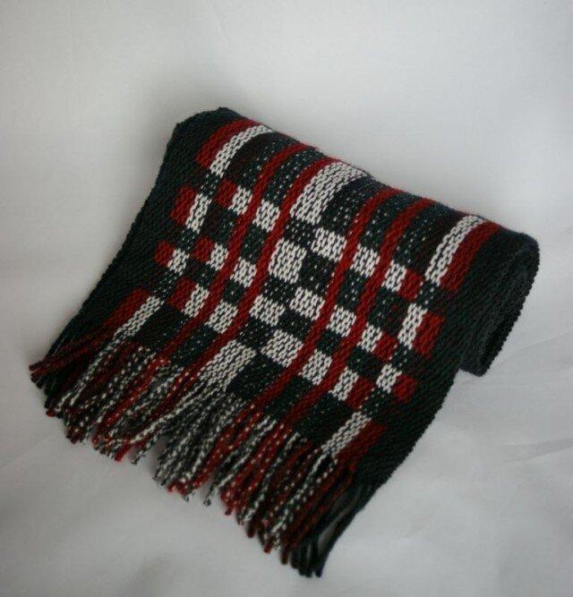 昼夜織りのマフラー(白・黒・赤)の画像1枚目