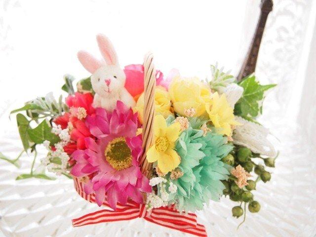 カラフルフラワーとうさちゃんの可愛い花かごWの画像1枚目
