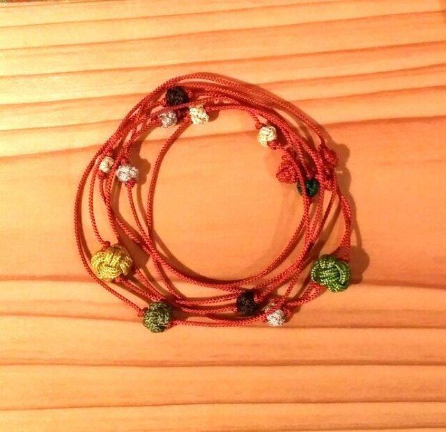 オレンジ色玉ネックレスの画像1枚目