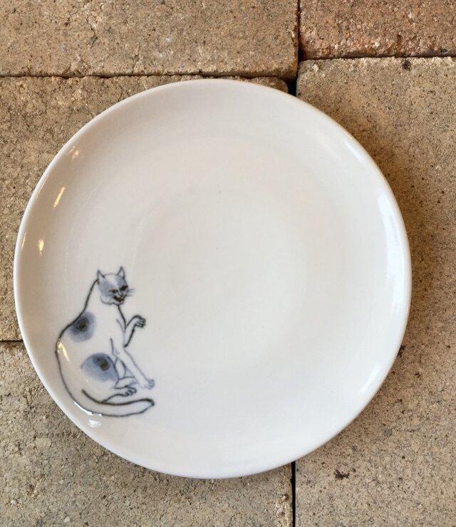 染付5寸猫皿 40の画像1枚目
