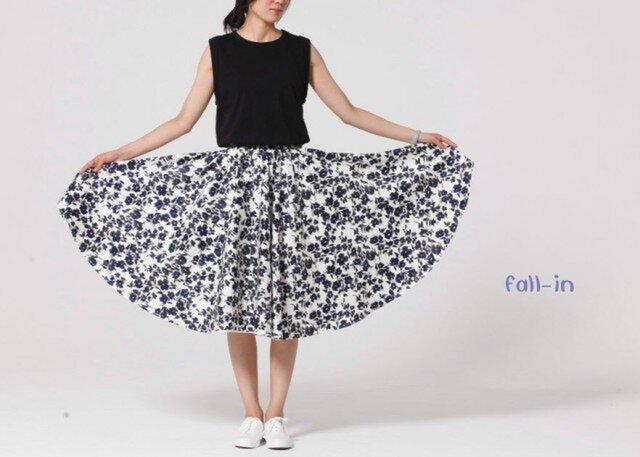 f008(再販9)花柄プリントコットン ギャザースカートの画像1枚目