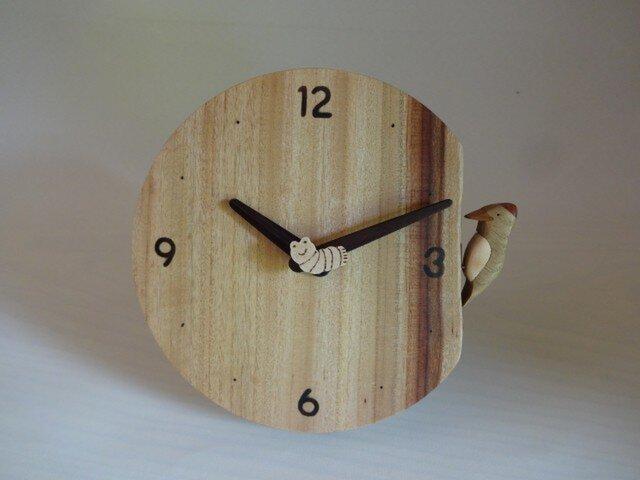 木製時計-きつつき(丸タイプ)の画像1枚目
