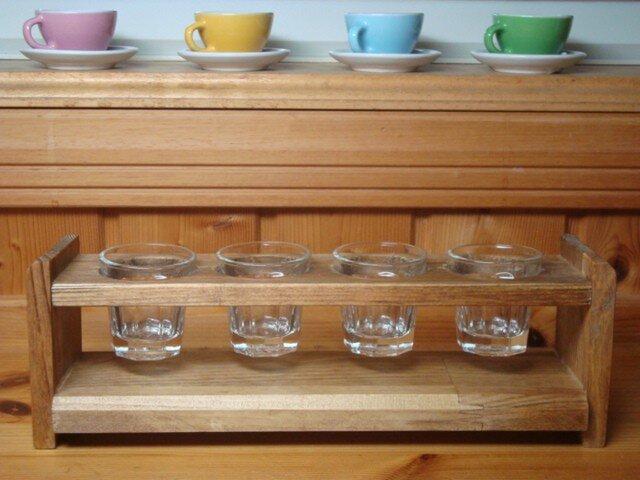 木製4連グラススタンド グラス付!の画像1枚目