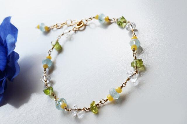 アクアマリン クールストーンブレスレット Aquamarine Cool stone bracelet B0027の画像1枚目