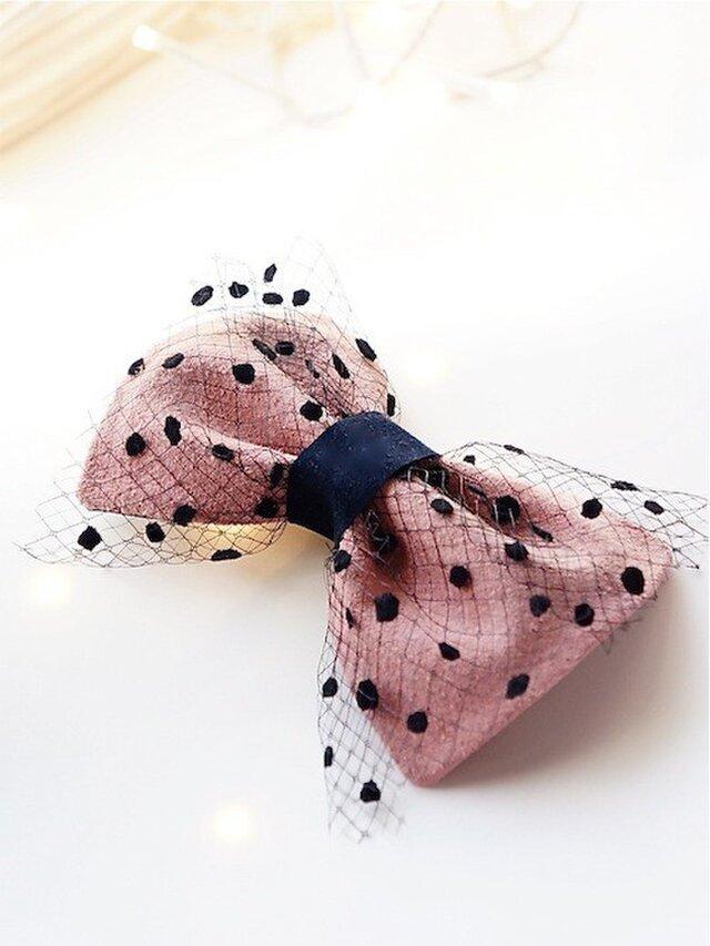 スエードリボンのバレッタ/pinkの画像1枚目