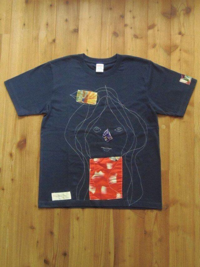 銘仙リメイクTシャツ<かんざし娘>MT-004の画像1枚目