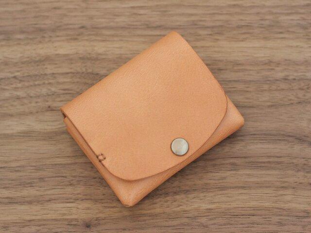 イタリア製牛革の二つ折り財布 / ナチュラル※受注製作の画像1枚目