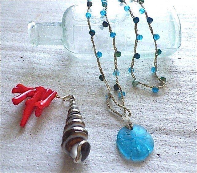 Blue Sand Dollar Wrap Necklaceの画像1枚目